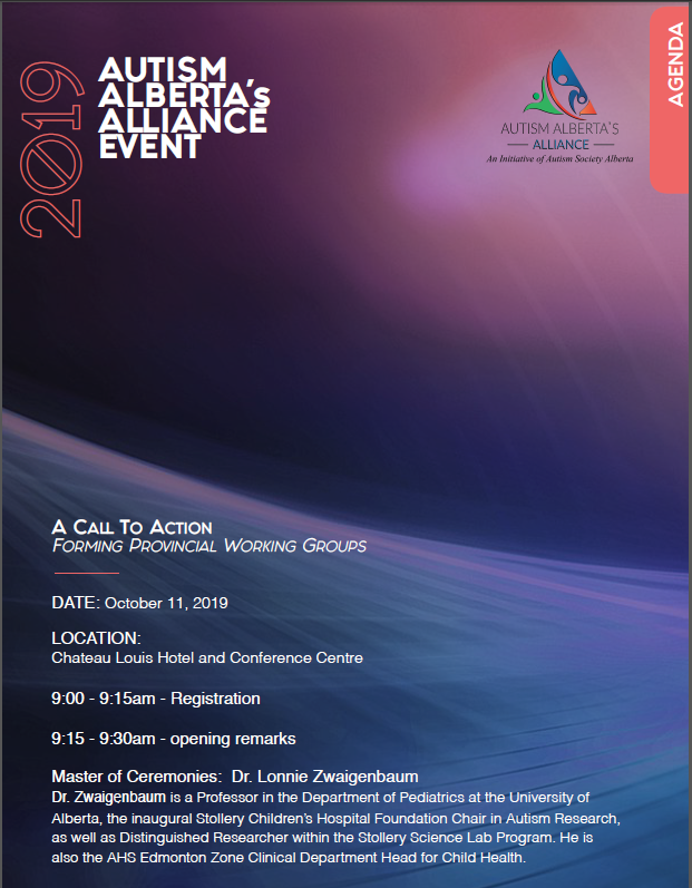 Autism Alberta's Alliance Event 2019 Agenda
