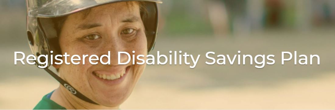"""""""Registered Disability Savings Plan"""" with a smiling person wearing a helmet behind."""