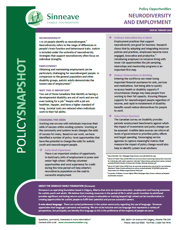 Document image: Neurodiversity and Employment - Policy Snapshot