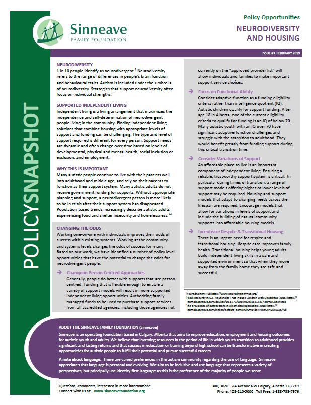 Document image: Neurodiversity and Housing - Policy Snapshot