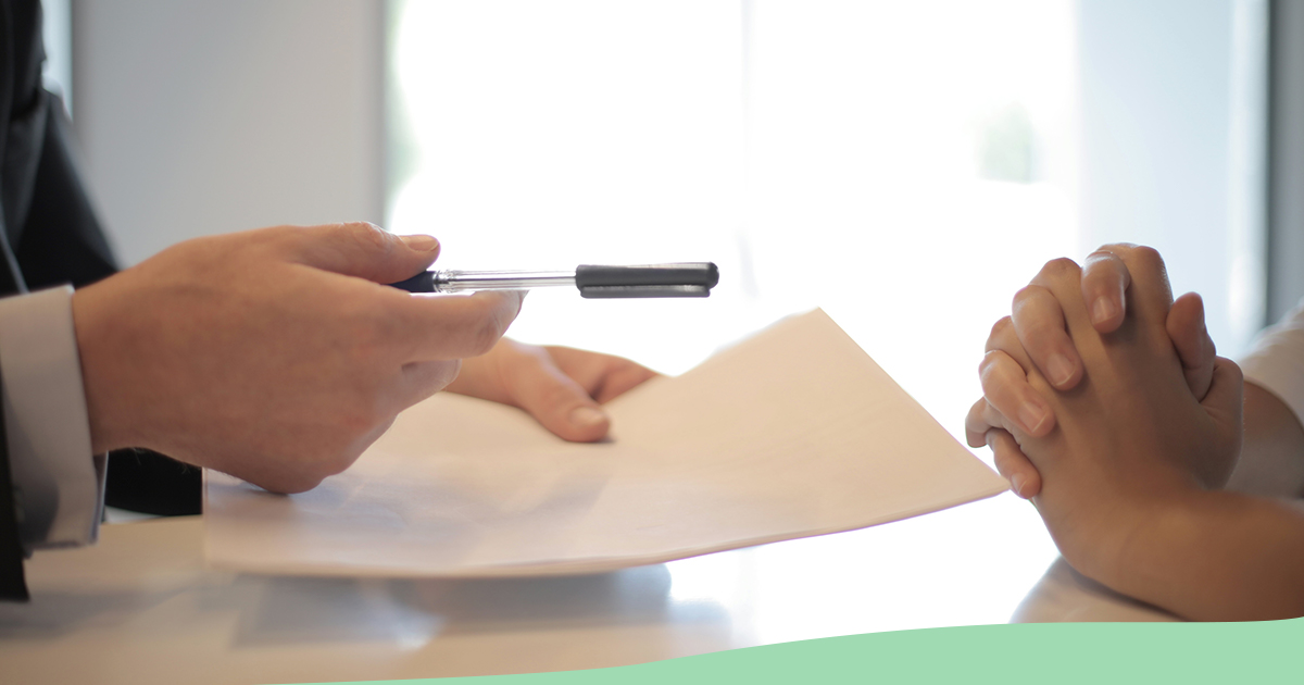Passing documents to sign (green wave at bottom)