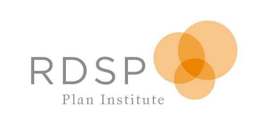 Registered Disability Savings Plan - Plan Institute (with 3 transparent tangerine colored circles overlapping in the center)