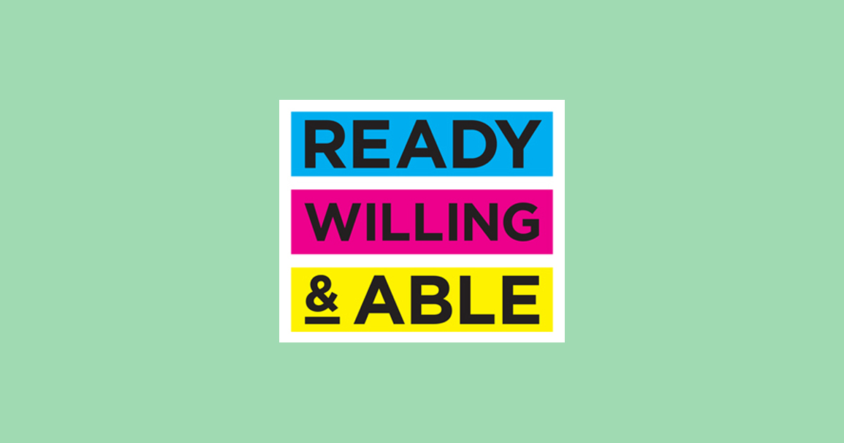 Ready Willing & Able (logo with green background)