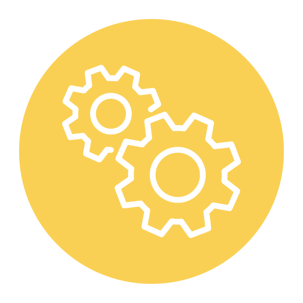 Two interlaced gears symbol