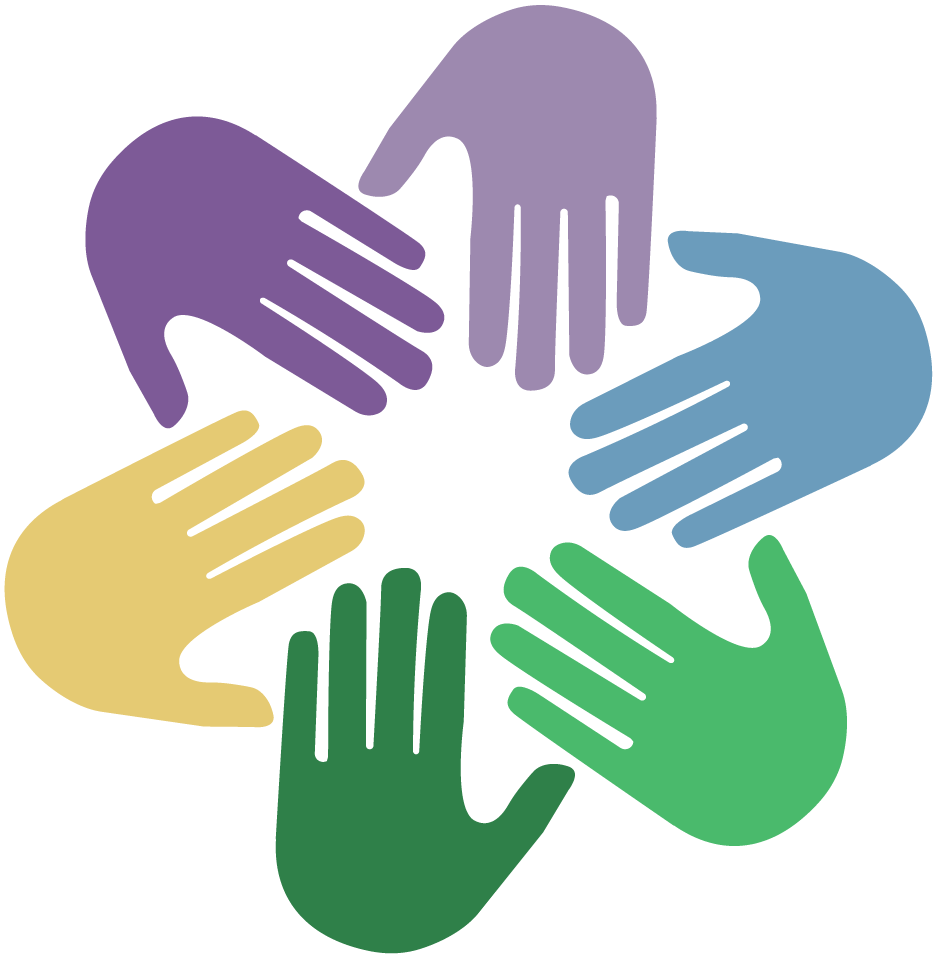 Group hands meet in circle symbol