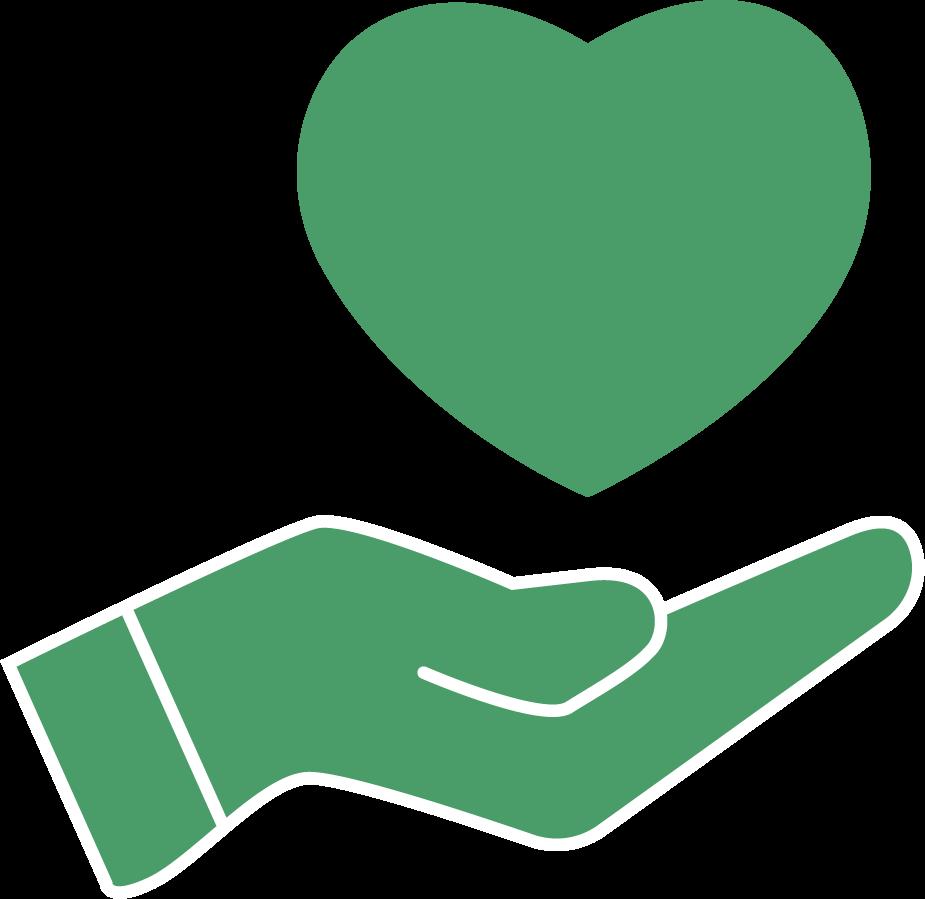 Heart in offering hand symbol