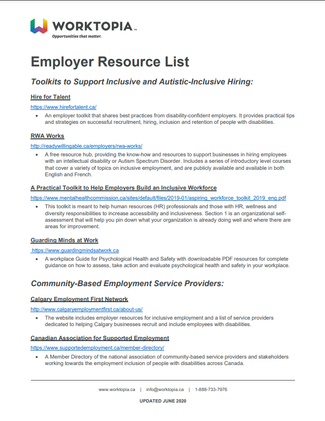Document: Employer Resource List (Worktopia)