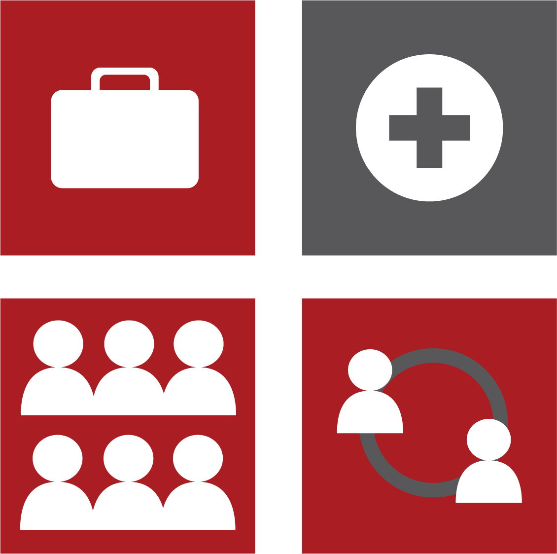 Collaboration symbols (4 squares with several people, some of which are communicating/networking)