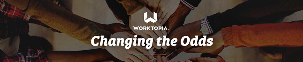 Worktopia banner - group effort / group cheer